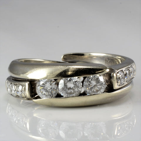 Unique Three Stone Diamond Bypass Engagement Ring SZ 5.75