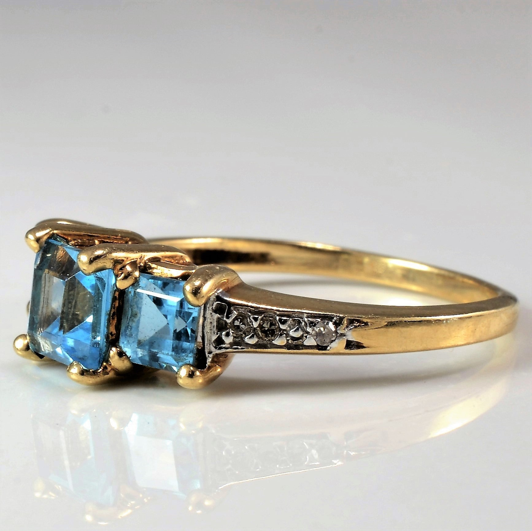 Three Stone Blue Topaz & Diamond Ring | 0.05 ctw, SZ 7 |