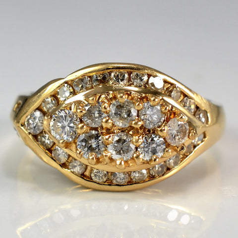 Marquise Shaped Diamond Cluster Cocktail Ring | 1.00 ctw, SZ 7.5 |