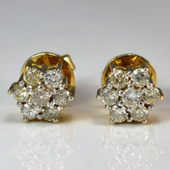 Diamond Floral Cluster Stud Earrings | 0.35 ctw |