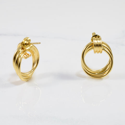 'Tiffany & Co.' Overlapping Hoop Stud Earrings