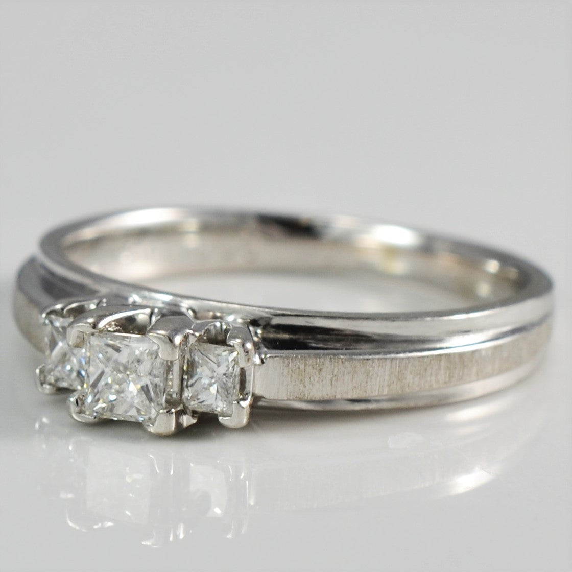 Three Stone Princess Ring With Brushed Detail | 0.30 ctw, SZ 5.5 |