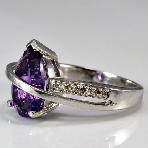 Gorgeous Pear Cut Amethyst & Diamond Ring | 0.05 ctw, SZ 5.75 |