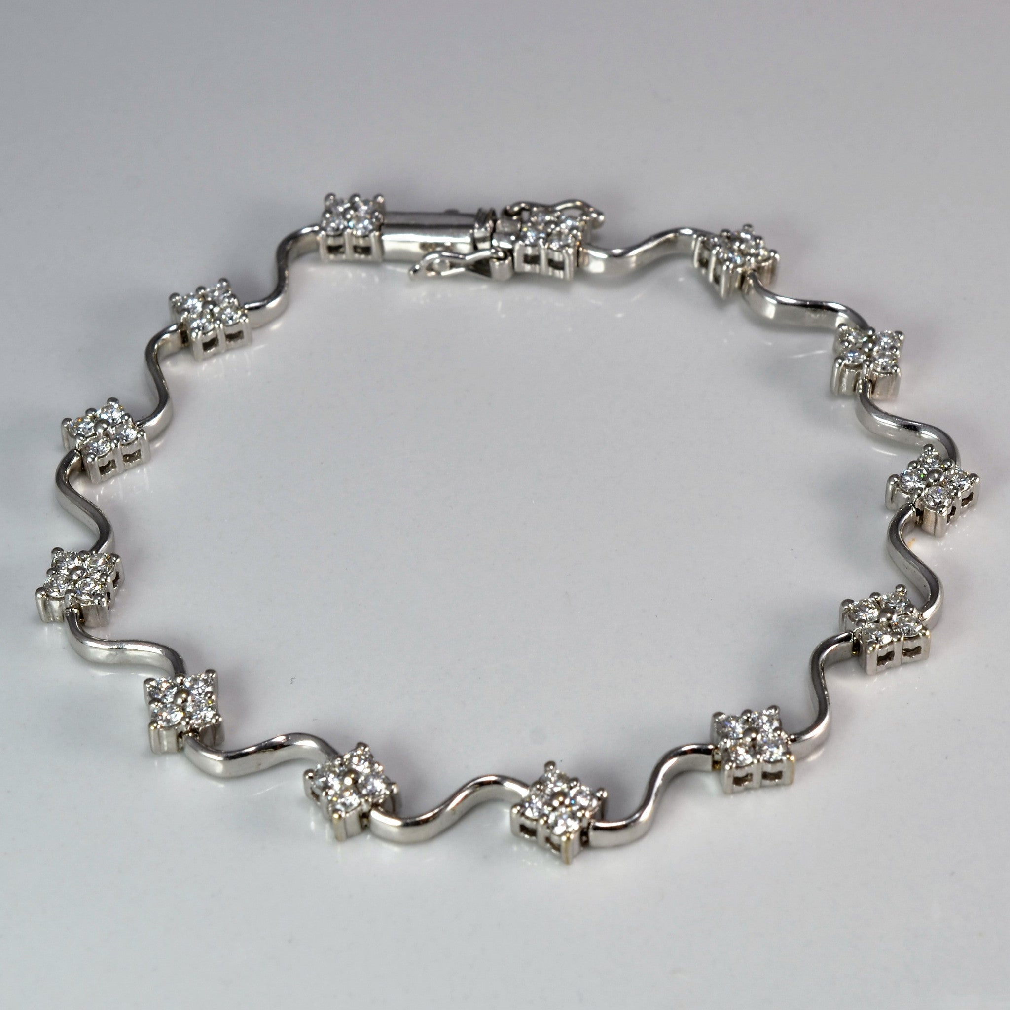 Quad Cluster Diamond Tennis Bracelet | 1.00 ctw, 7"