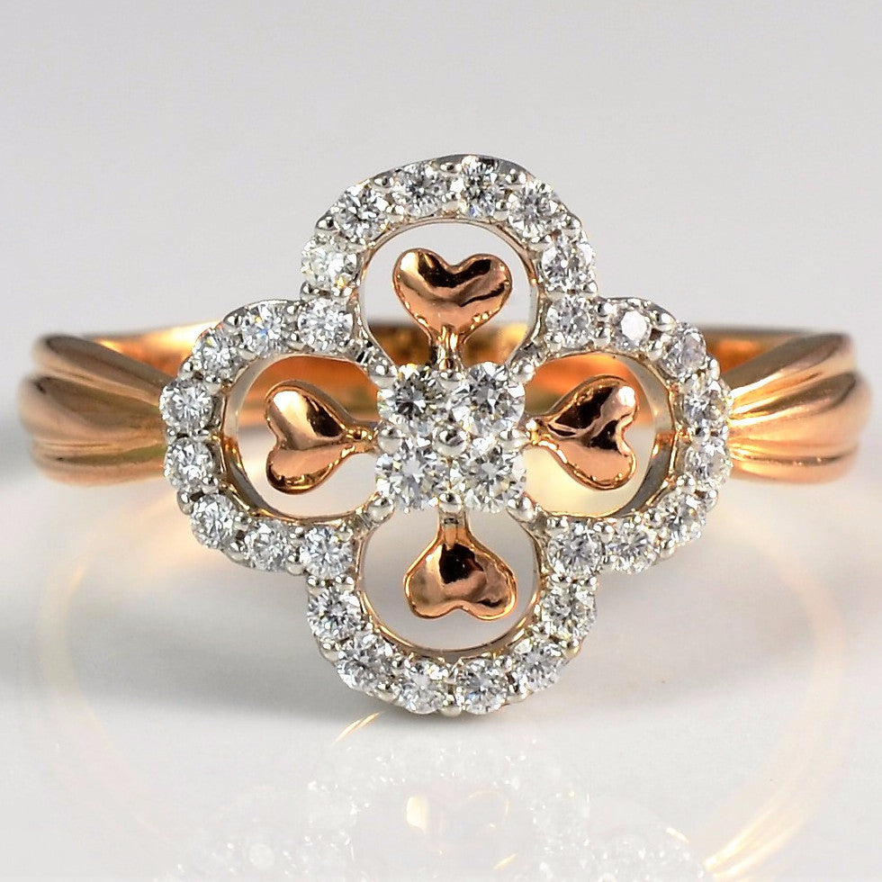 Rose Gold Hearts & Pave Diamond Ring | 0.20 ctw, SZ 5.25 |