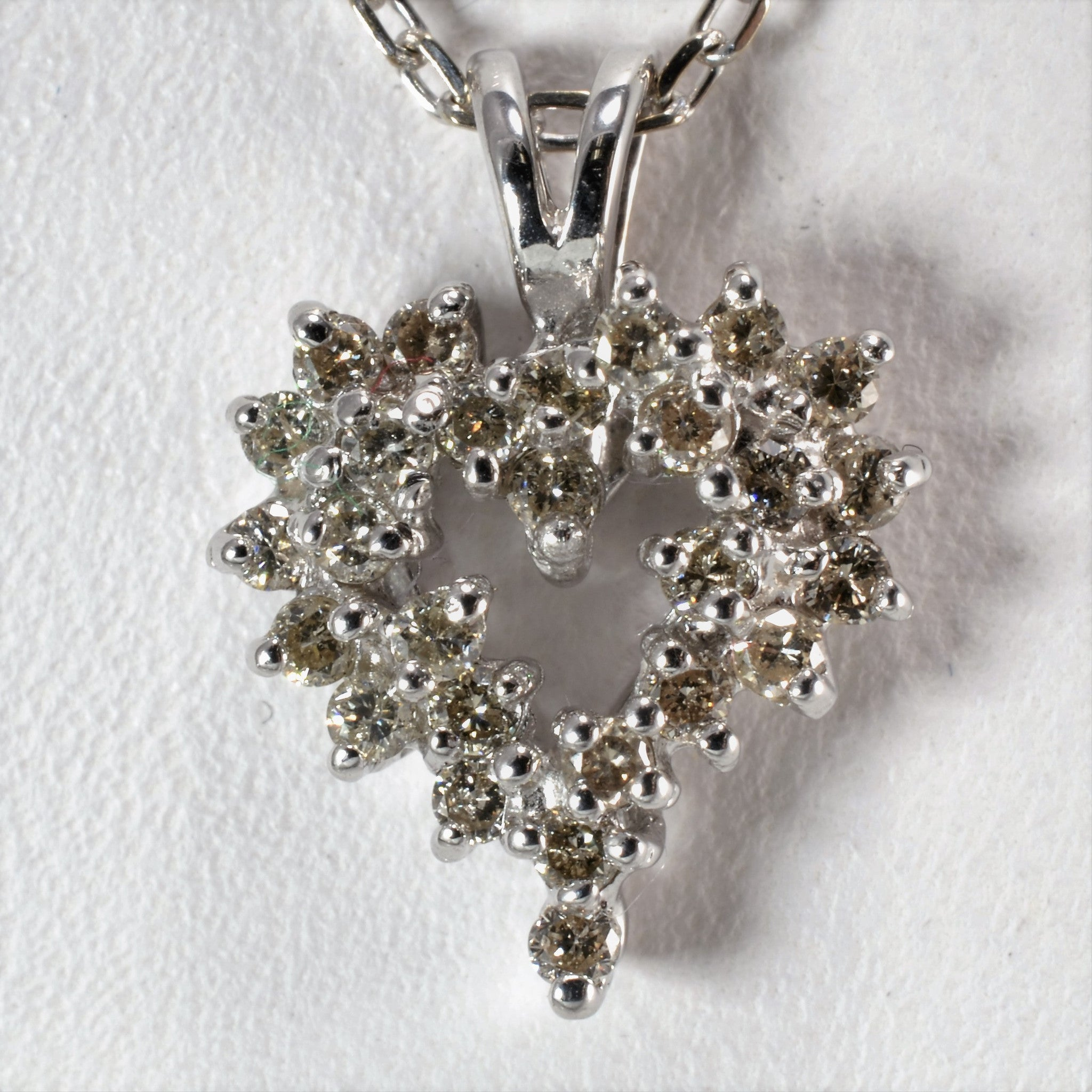Diamond Cluster Heart Necklace | 0.25 ctw, 18"