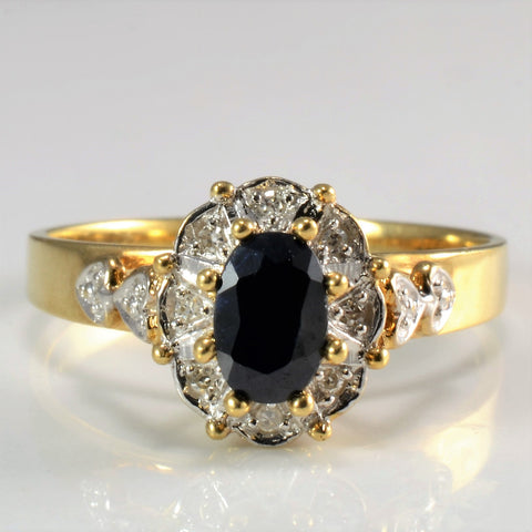 High Set Cocktail Sapphire & Diamond Ring | 0.04 ctw, SZ 7.75 |