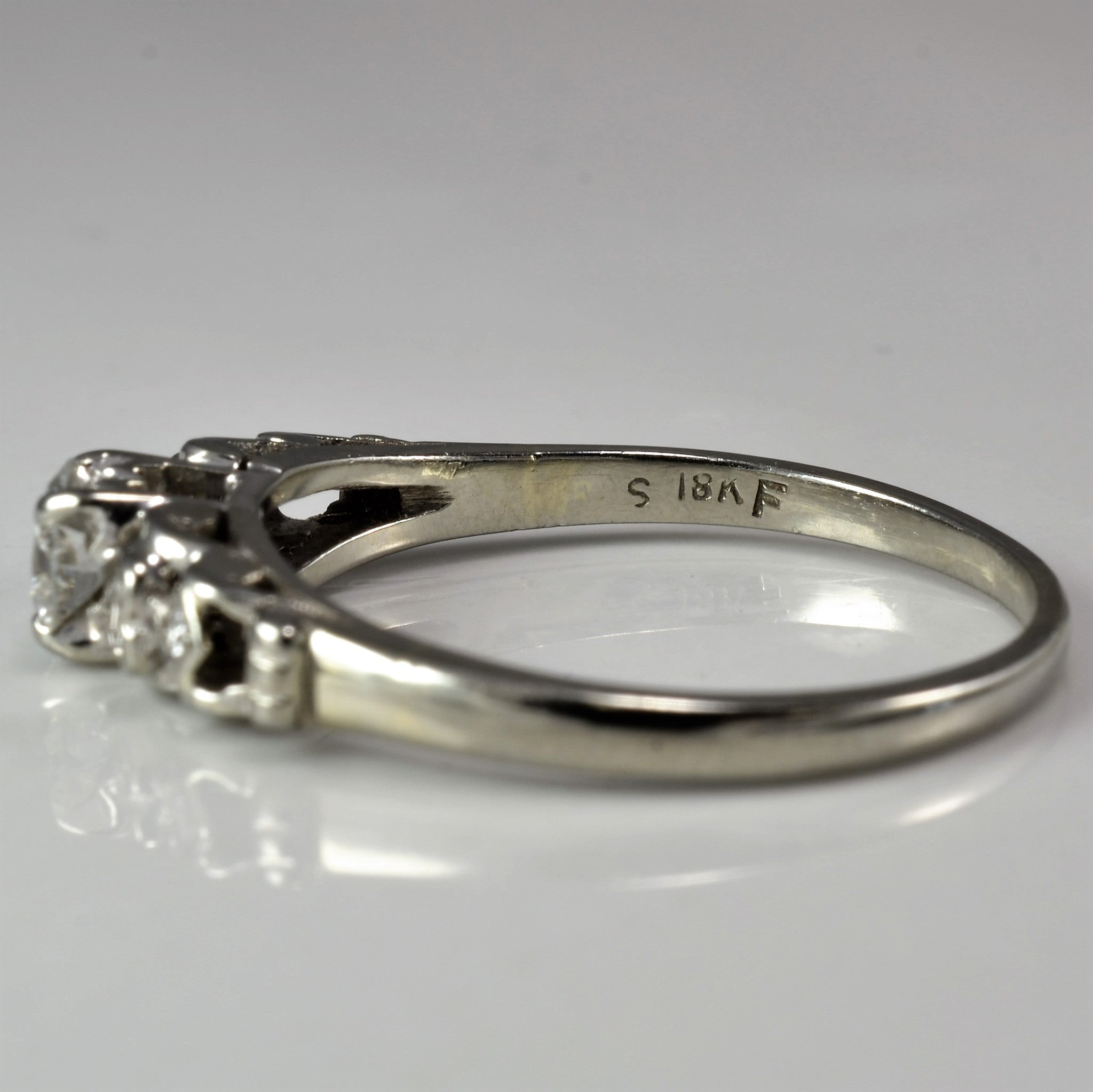 Diamond Heart Detailed Engagement Ring | 0.37 ctw, SZ 7.75 |