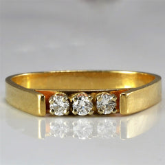 Three Stone Soft Square Wedding Band | 0.12 ctw, SZ 5.75 |