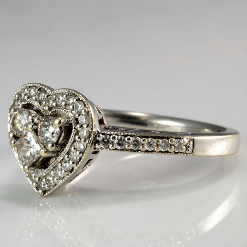 Heart Shape Cathedral Set Diamond Engagement Ring | 0.32 ctw, SZ 5.5|