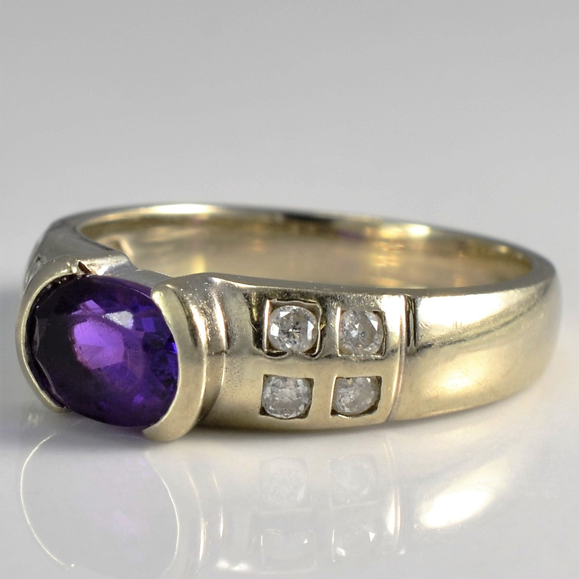 Wide Semi Bezel Set Amethyst & Diamond Ring | 0.15ctw, 0.75ct | SZ 5.5 |