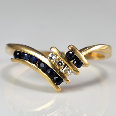 Chevron Channel Set Diamond And Sapphire Ring