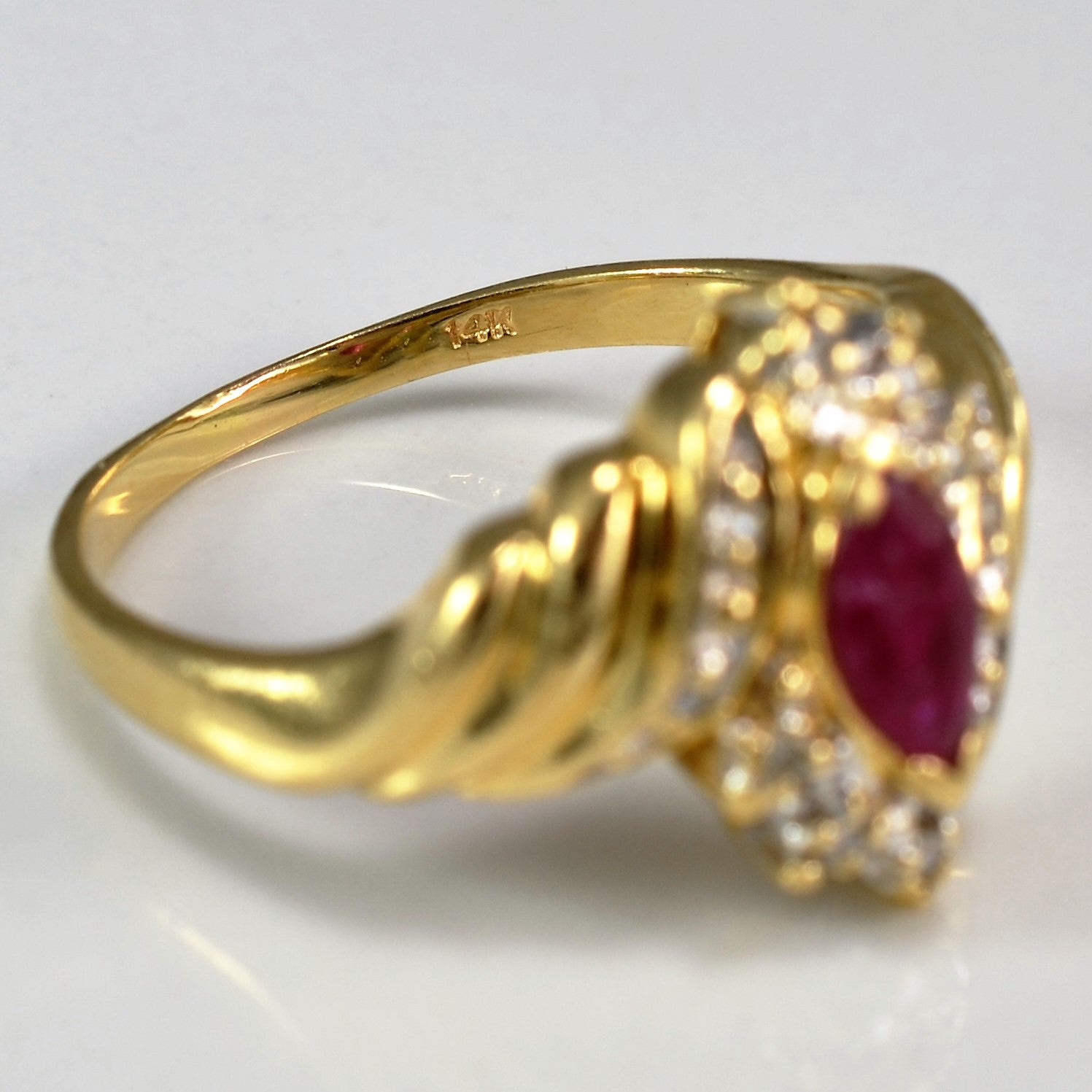 Twisted Gold Marquise Ruby Ring | 0.05 ctw, SZ 7.25 |