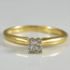 Princess Solitaire In V Prong High Setting | 0.25 ct, SZ 7.25 |