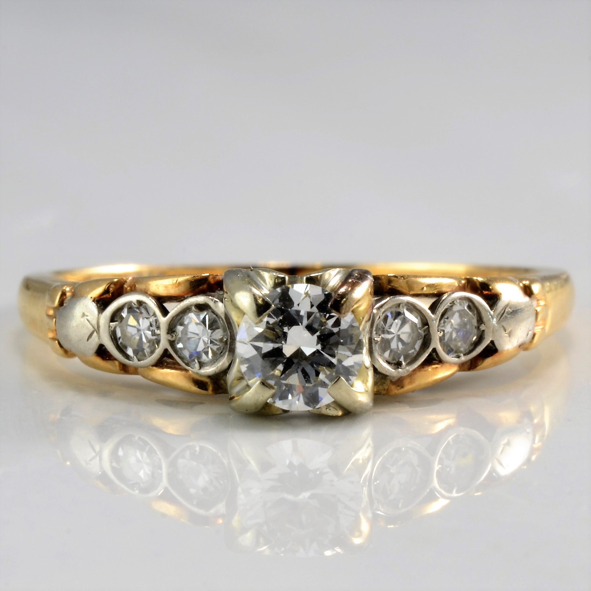 Retro Diamond Engagement Ring | 0.26 ctw, SZ 5.5 |