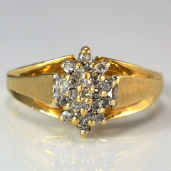 Brushed Detailed Cluster Ring | 0.12 ctw, SZ 7.25 |