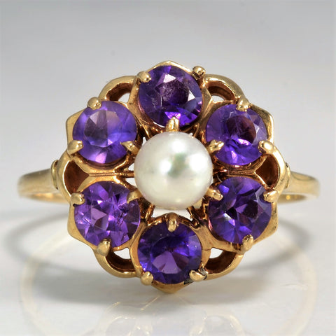 Floral Amethyst & Pearl Cocktail Ring | SZ 8.5 |