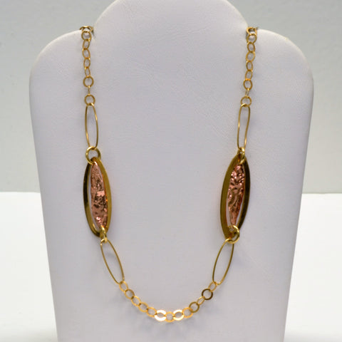 Oval Link Two Tone Necklace | 26"