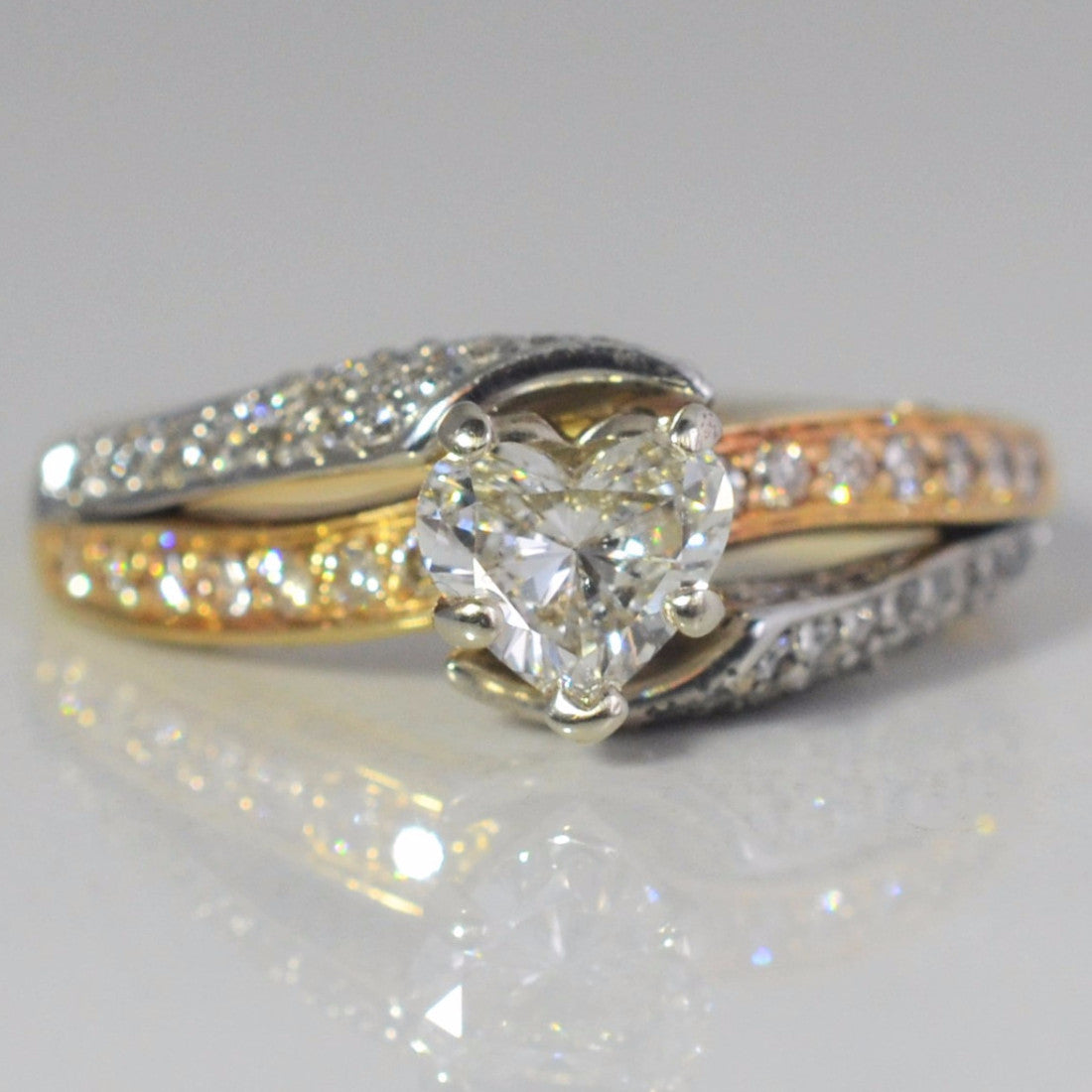 Two Tone Bypass Heart Diamond Engagement Ring | 1.00ctw | SZ 7.5 |