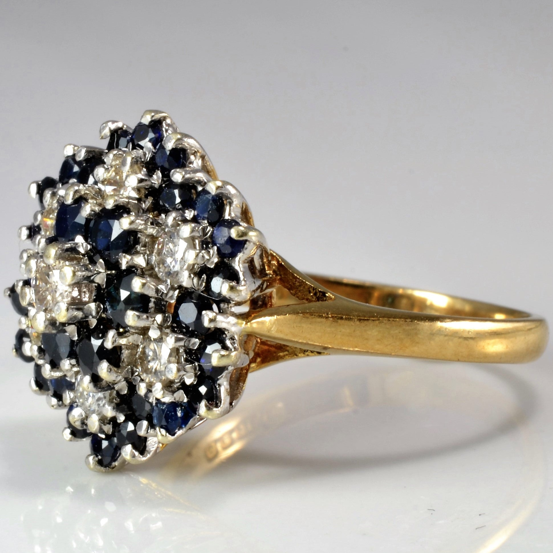 Beautiful Floral Sapphire & Diamond Cocktail Ring | 0.37 ctw, SZ 7.5 |