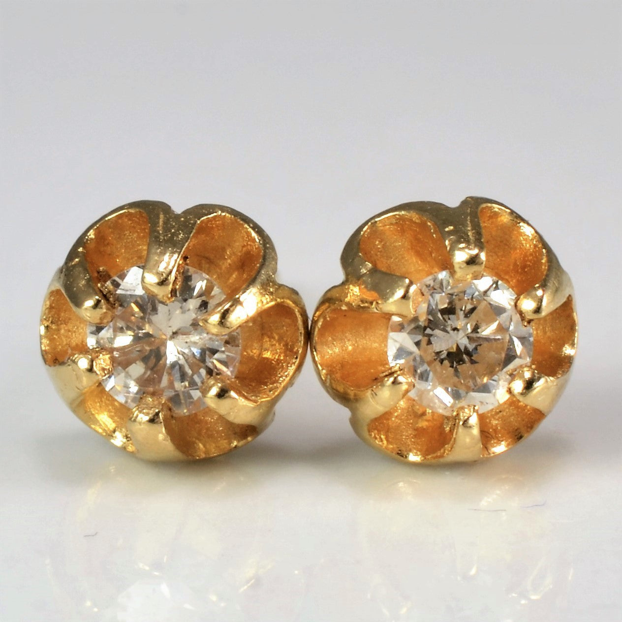 Vintage Floral Illusion Diamond Studs | 0.25 ctw |