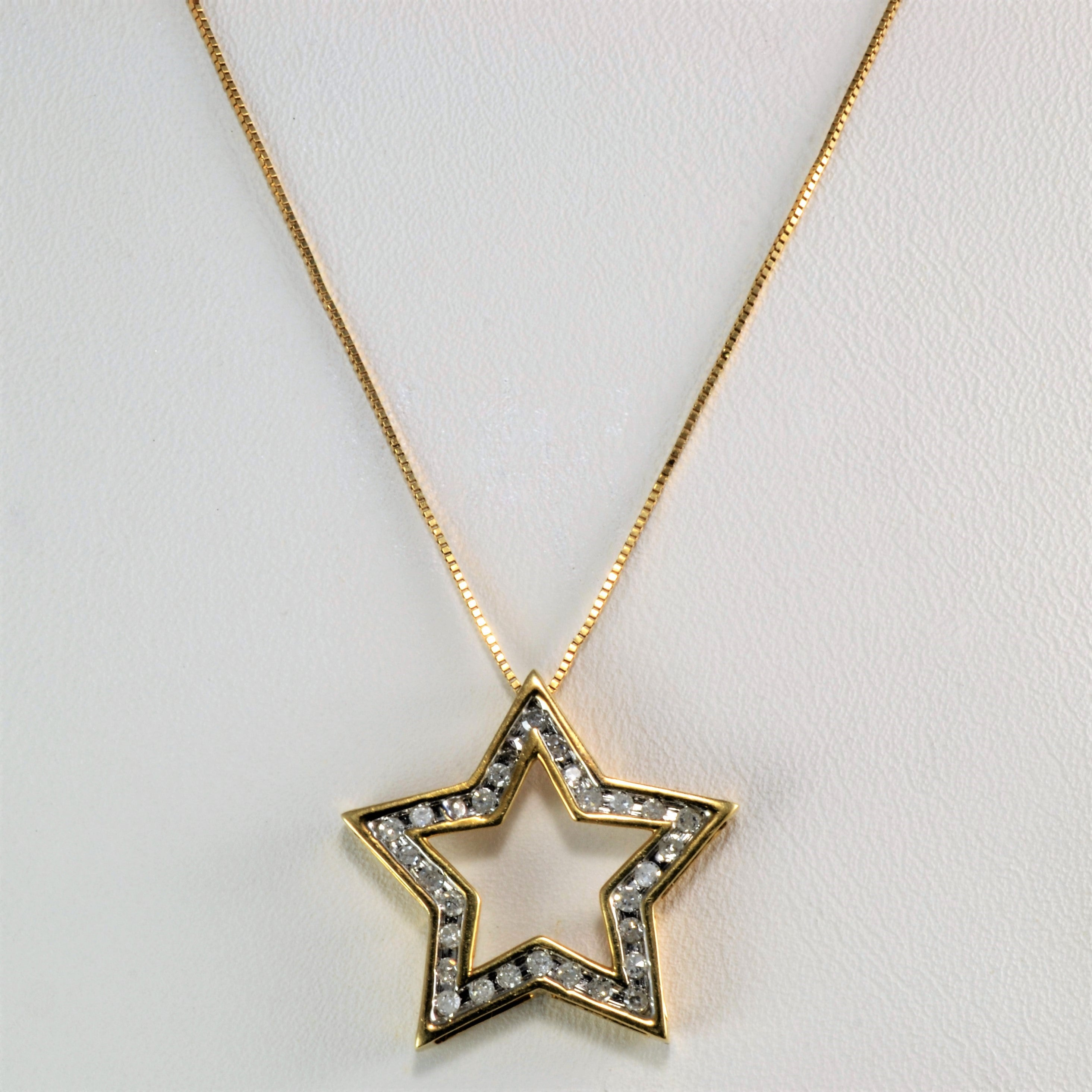 Channel diamond star pendant necklace 025 ctw 18 100 ways channel diamond star pendant necklace 025 ctw 18 aloadofball Choice Image
