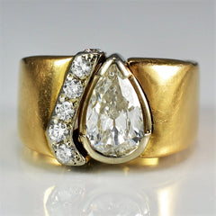 Wide Pear Diamond Cocktail Ring | 1.00 ctw, SZ 4 |