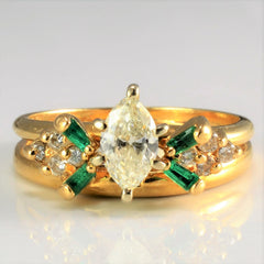 Beautiful Marquise Diamond & Emerald Soldered Ring | 0.56 ctw, SZ 5.5 |