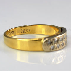 Wide Yellow Gold Double Row Diamond Ring | 0.14 ctw, SZ 6.25 |