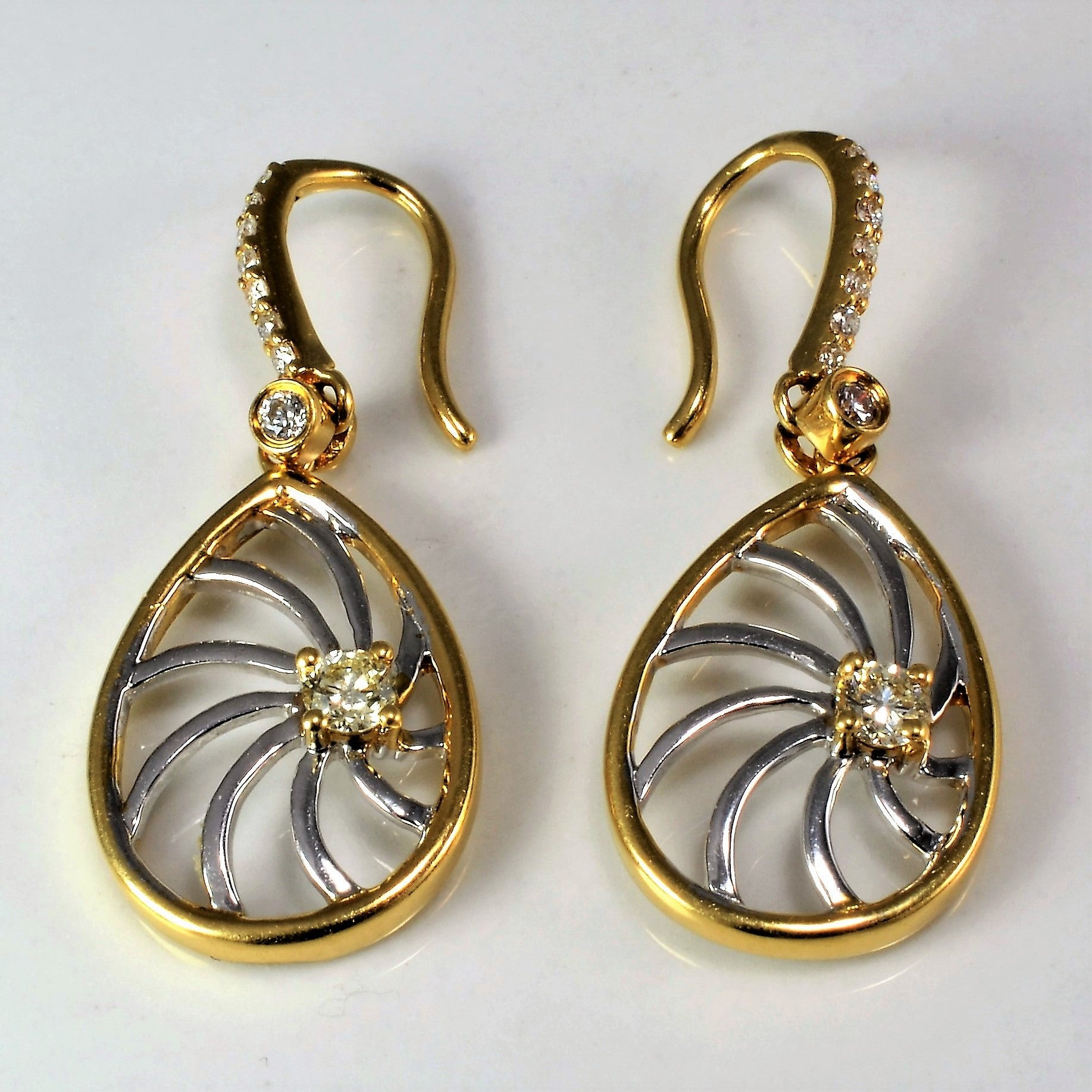 Two Tone Basal Diamond Earrings | 0.24 ctw |