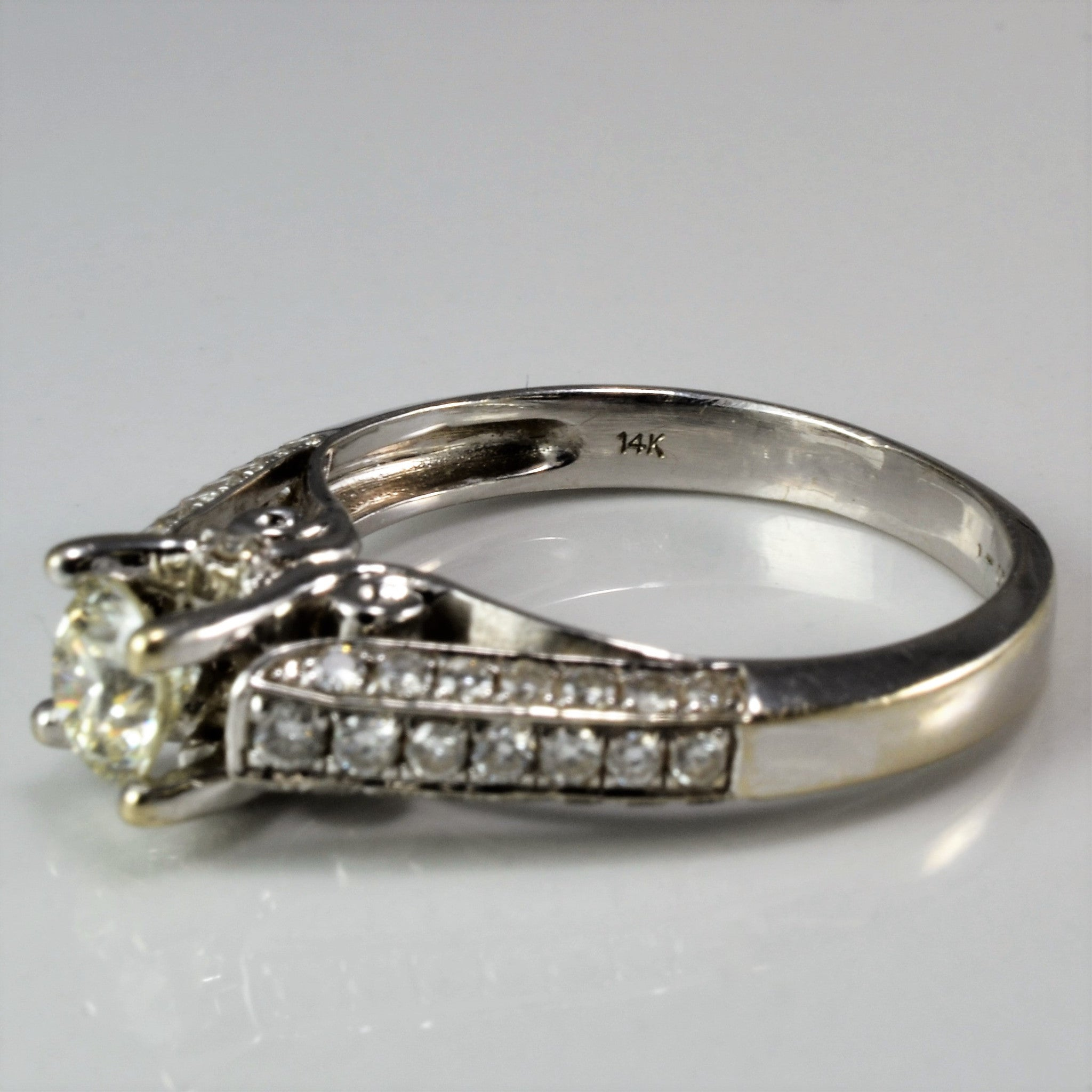 Intricate Cathedral Engagement Ring | 1.29ctw | I1, K | SZ 7.75 |