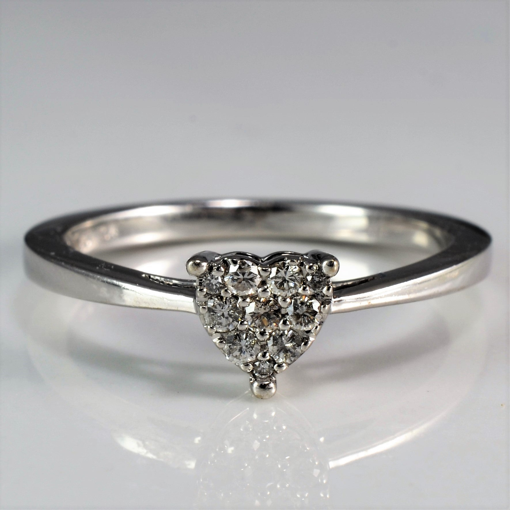 Pave Diamond Heart Promise Ring | 0.10ctw | SZ 6.25 |