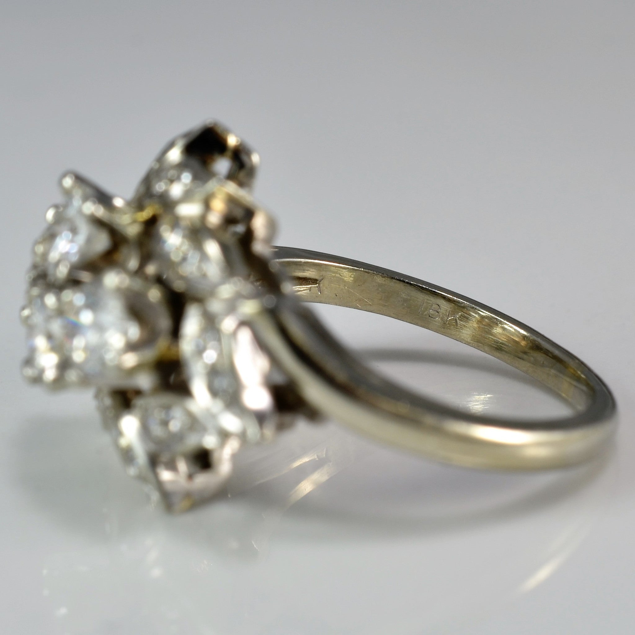 Floral Motif Diamond Cocktail Ring | 0.78 ctw, SZ 5 |