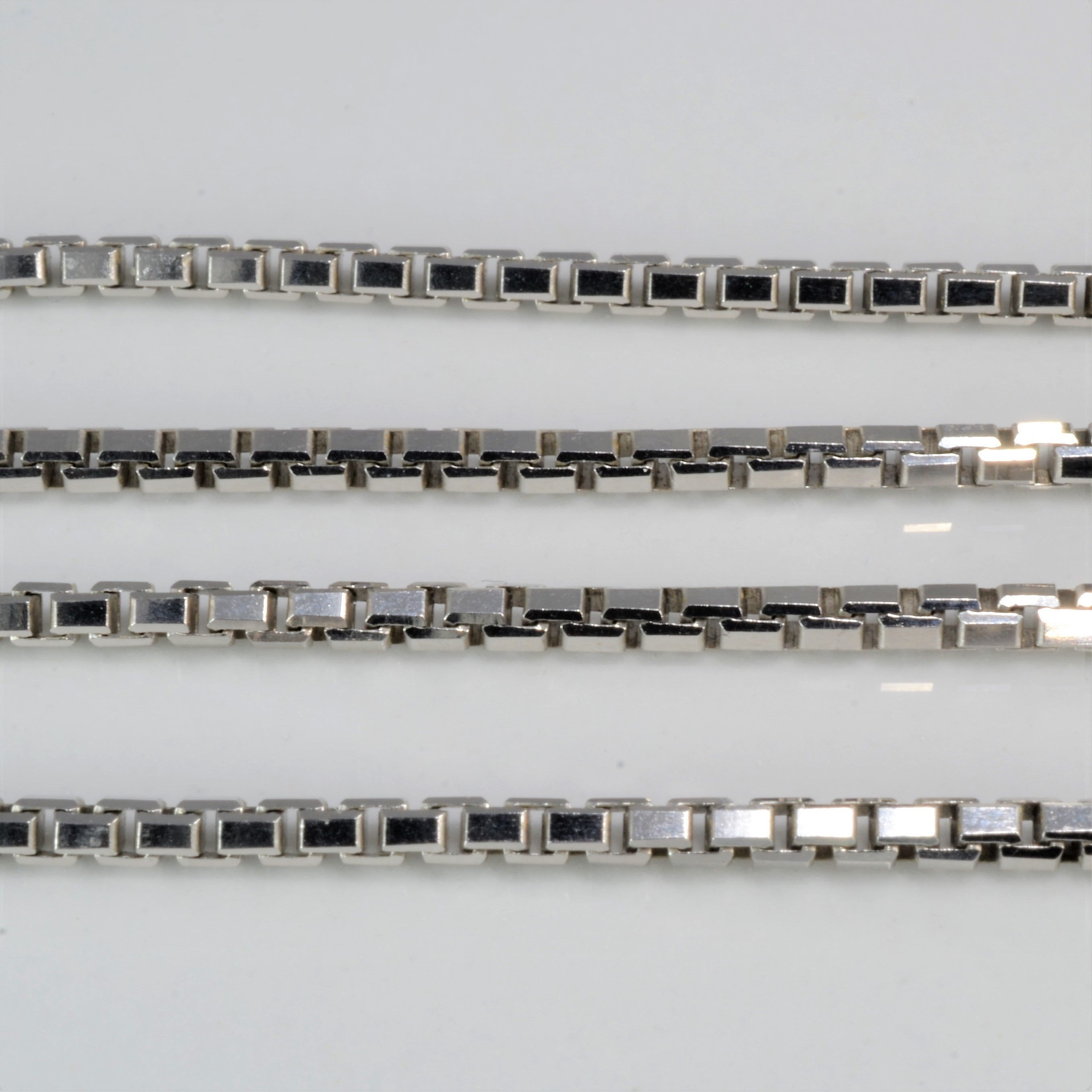 Heavy Link White Gold Box Chain | 20"