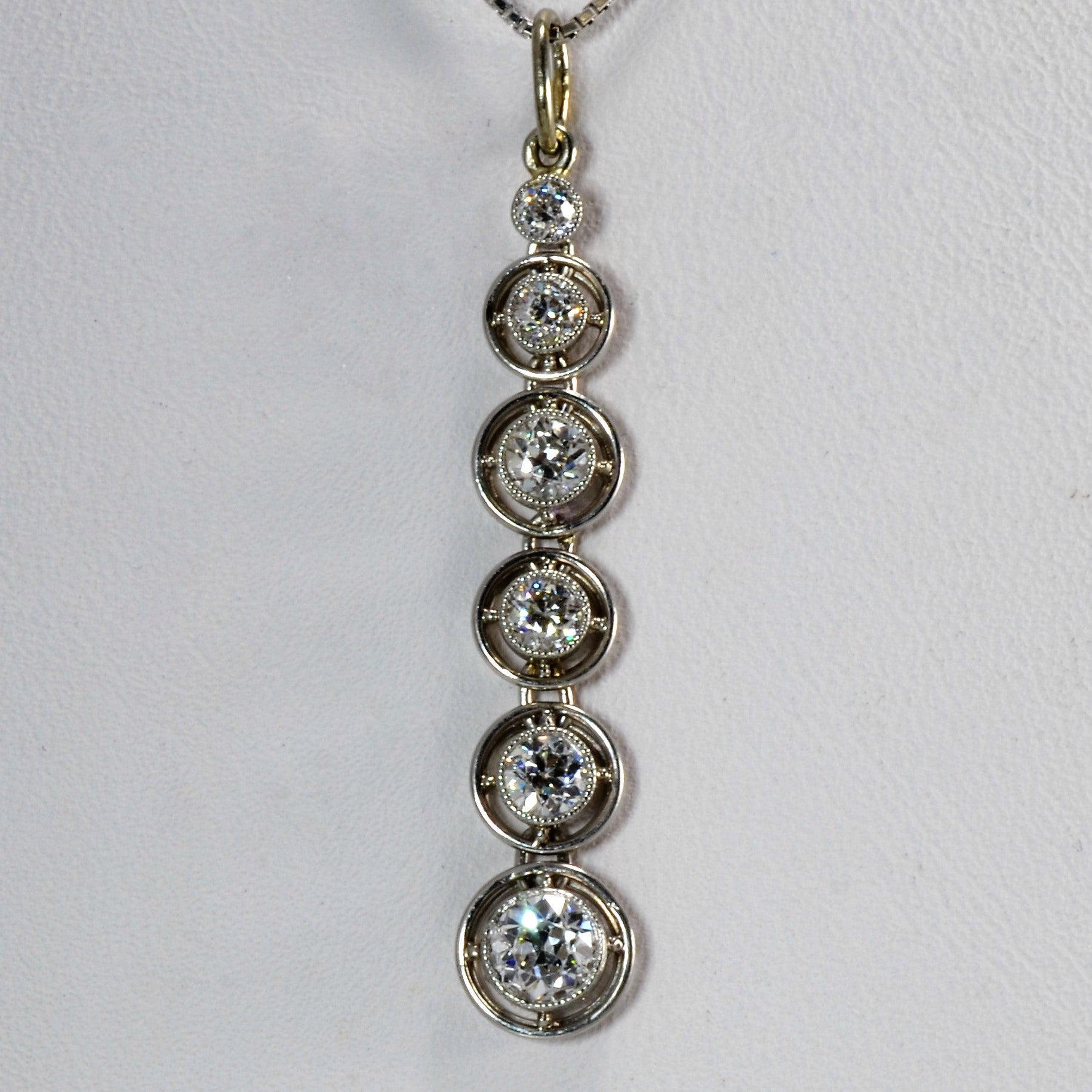 Vintage Bezel Set Diamond Drop Necklace | 0.65 ctw, 16"