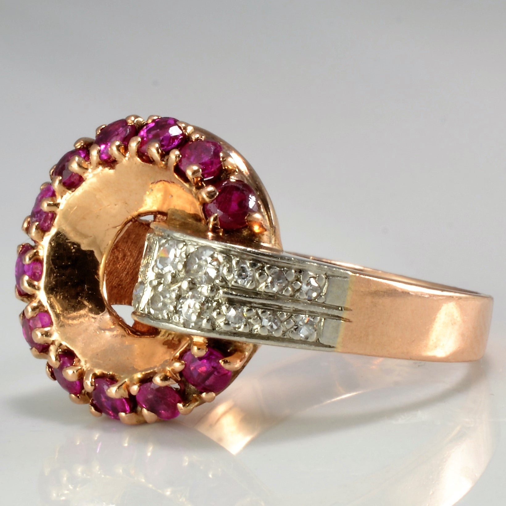 Retro Rose Gold Ruby & Diamond Ring | 0.20 ctw, SZ 5.75 |