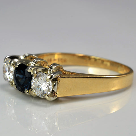 Three Stone Diamond & Sapphire Engagement Ring | 0.62 ctw, SZ 7 |