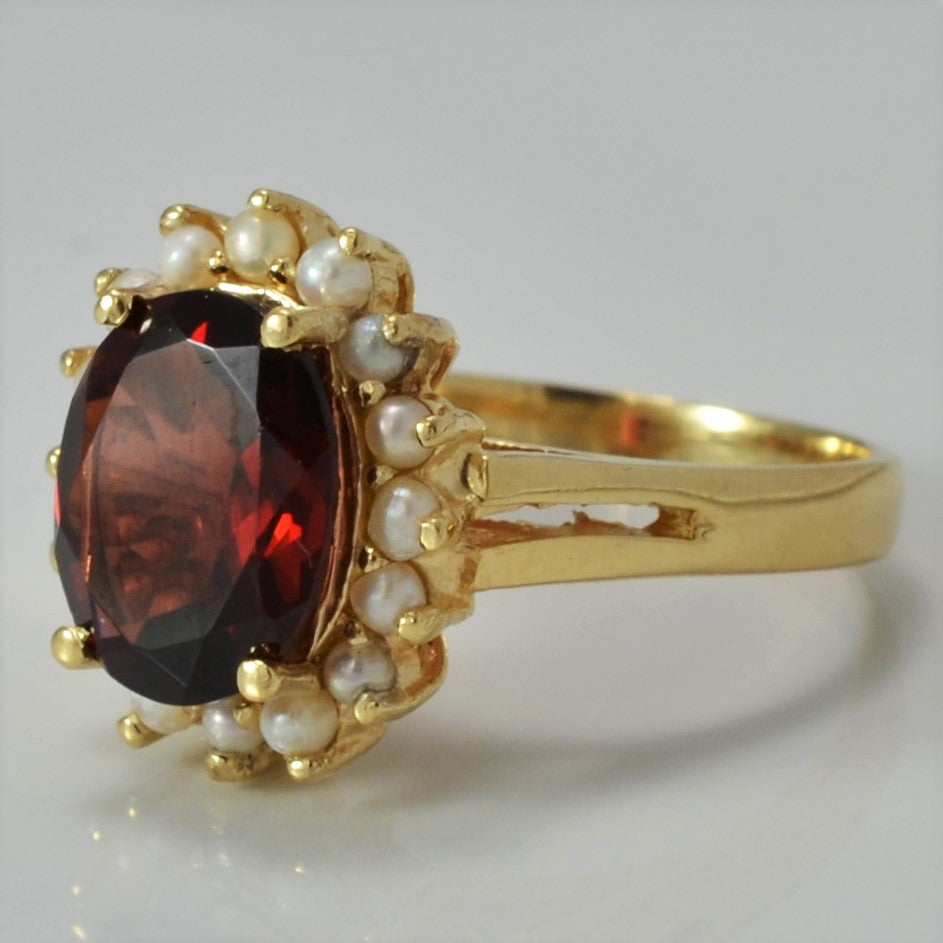 Garnet & Pearl Halo Cocktail Ring | SZ 7.75 |