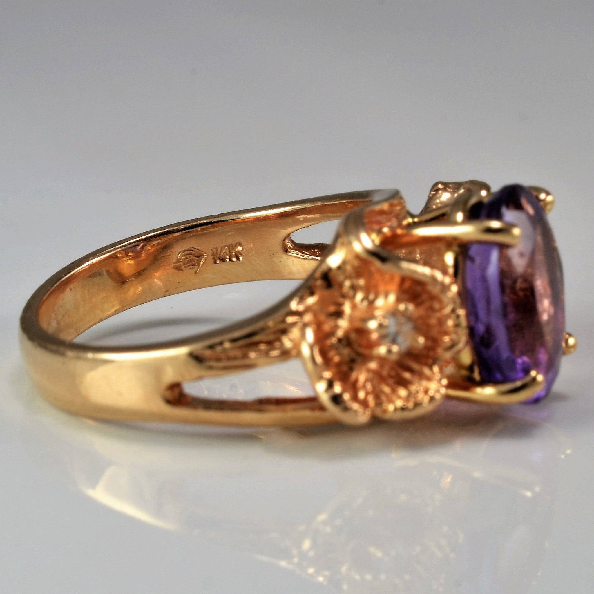 Beautiful Amethyst & Diamond Cocktail Ring | 0.04 ctw, SZ 6.5 |