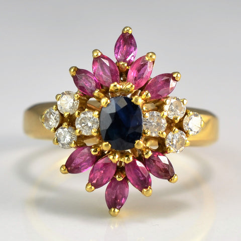 Multi Gem Floral Ring | 0.25 ctw, SZ 5.75 |