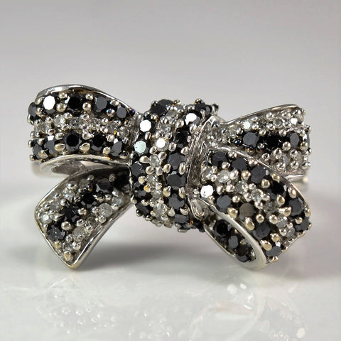 Black & White Pave Diamond Bow Ring | 0.60 ctw, SZ 4 |