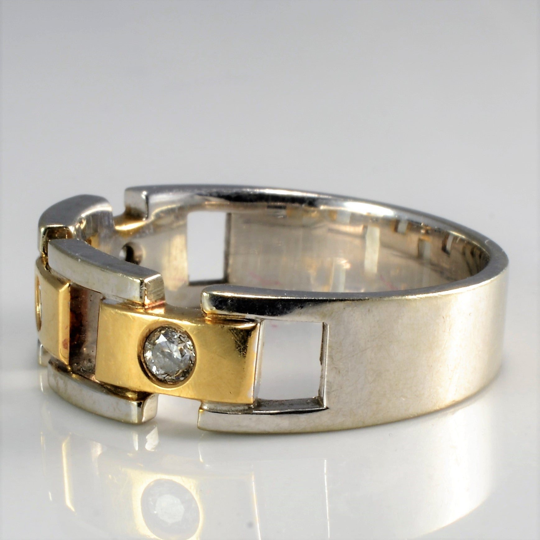 Bezel Set Diamond Two Tone Gold Unisex Ring | 0.21 ctw, SZ 10.75 |
