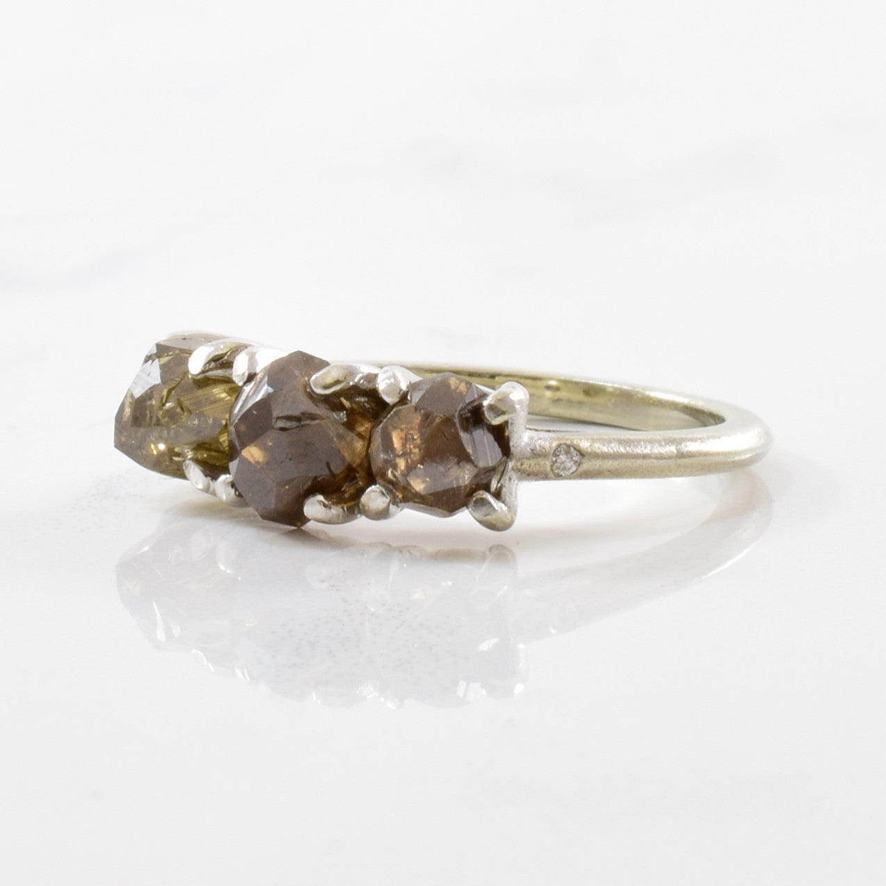 Natural Rough Brown Diamond Three Stone Ring | 3.00 ctw | SZ 4.25 |
