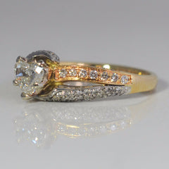 Two Tone Bypass Heart Cut Diamond Engagement Ring | 1.00 ctw, SZ 7.5 |