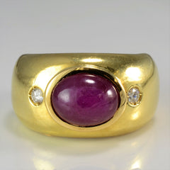 Oval Ruby Cabochon & Diamond Ring | 0.08 ctw, SZ 4.75 |