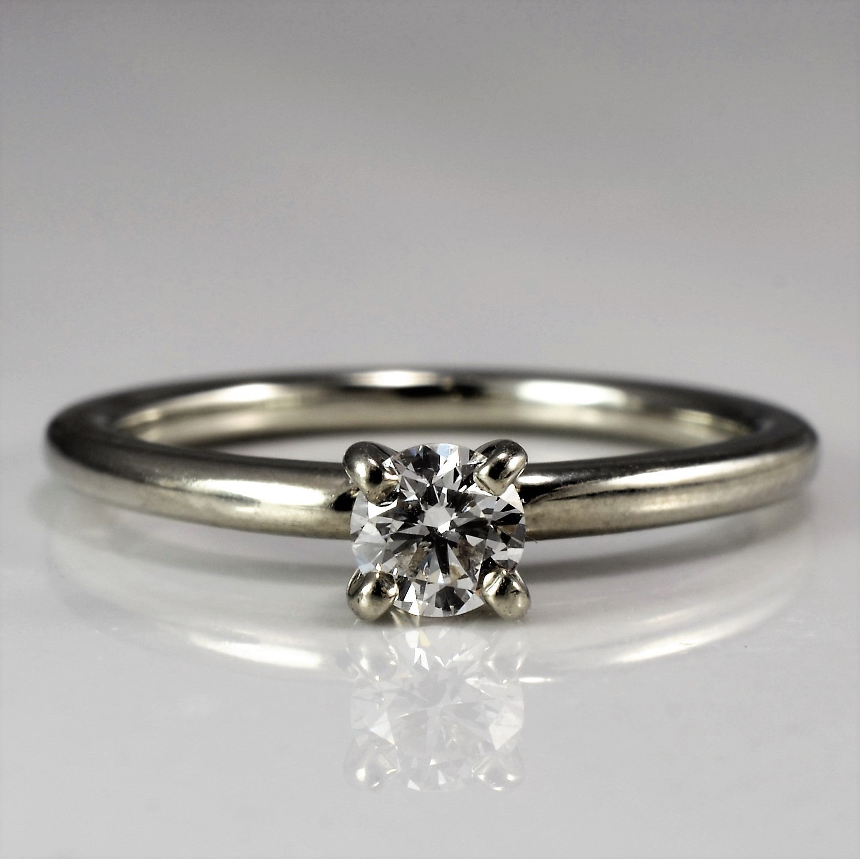 Simple White Gold Solitaire Diamond Ring | 0.19 ct, SZ 4.5 |