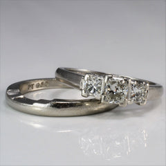 Three Stone Princess Engagement Ring With Wedding Band | 0.75 ctw, SZ 6.25 |