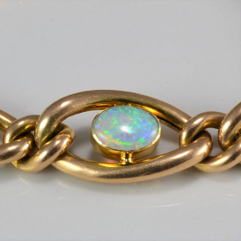 European Style Opal & Diamond Chain Bracelet | 0.90 ctw, 7''|