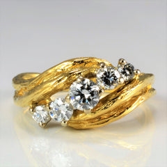 Bypass Five Stone Diamond Brushed Ring | 0.53 ctw, SZ 6.25 |