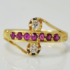 Art Nouveau Diamond & Ruby Ring | 0.10 ctw, SZ 4.25 |